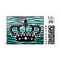 Girly trendy blue and black zebra print postage