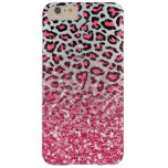 girly trendy bubble gum pink leopard animal print barely there iPhone 6 plus case