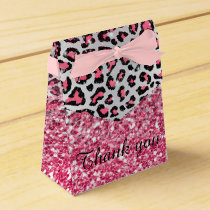 girly trendy bubble gum pink leopard animal print favor box