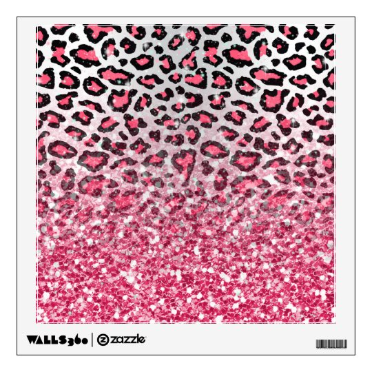 Girly Trendy Bubble Gum Pink Leopard Animal Print Wall Decal