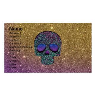 Girly Trendy Faux Glitter Skull Business Card