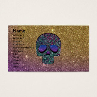 Girly Trendy Faux Glitter Skull Business Card