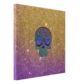 Girly Trendy Faux Glitter Skull Canvas Print
