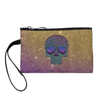 Girly Trendy Faux Glitter Skull Coin Wallet