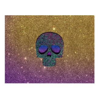 Girly Trendy Faux Glitter Skull Postcard