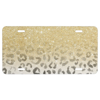 Girly trendy faux gold glitter leopard watercolor license plate