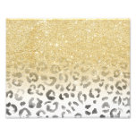 Girly trendy faux gold glitter leopard watercolor photo print