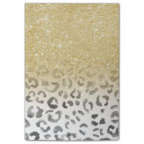Girly trendy faux gold glitter leopard watercolor post-it notes