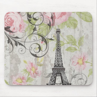 Girly trendy floral swirls Eiffel Tower Paris Mouse Pad