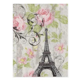 Girly trendy floral swirls Eiffel Tower Paris Postcard