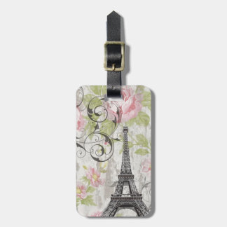 Girly trendy flowers Eiffel Tower vintage Paris Tag For Luggage