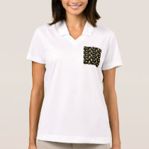 girly,trendy,gold,black,high heels,pattern,hipster polo shirt