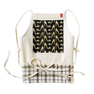 girly,trendy,gold,black,high heels,pattern,hipster zazzle HEART apron