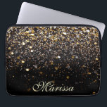 "Girly Trendy Gold Glitter Modern Black Sleeve<br><div class=""desc"">Girly-Girl-Graphics at Zazzle: Cool Girly Trendy Stylish Customizable Elegant Classy Yellow and White Gold Glitter Pattern Print Modern Black Neoprene Computer Electronics Laptop Sleeve 13 inches (OR EDIT to ANY OTHER SIZE) simple to Personalize with Your Beautiful Name using a Pretty Chic Fancy Script Calligraphy Typography Text Font makes a...</div>"