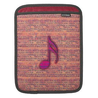 Girly Trendy Musical Note on Sheet Music iPad Sleeve