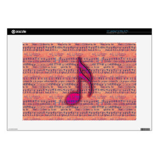 Girly Trendy Musical Note on Sheet Music Laptop Decal
