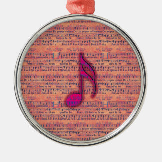 Girly Trendy Musical Note on Sheet Music Christmas Tree Ornament