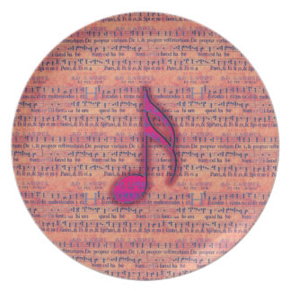 Girly Trendy Musical Note on Sheet Music Party Plates