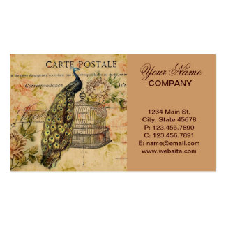 girly trendy peacock floral vintage business card