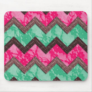 Girly Trendy Pink green zig zag lace Mouse Pad