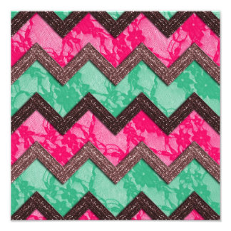 Girly Trendy Pink green zig zag lace Photo Print