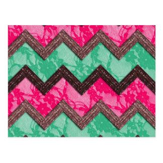 Girly Trendy Pink green zig zag lace Postcard