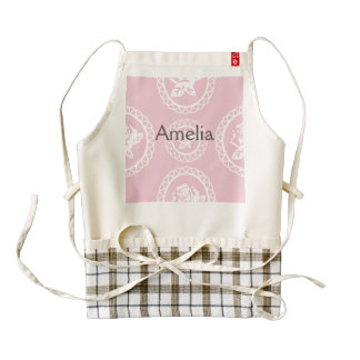 Girly,trendy,pink,roses,floral,pattern,modern,chic Zazzle HEART Apron