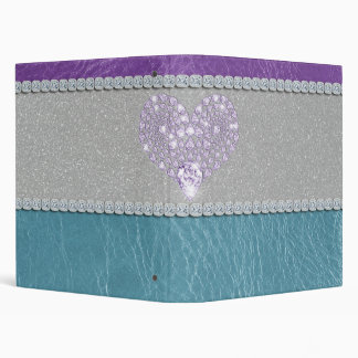 Girly trendy turquoise and purple leather diamond 3 ring binder