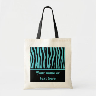 Girly turquoise blue and black zebra stripes tote bag