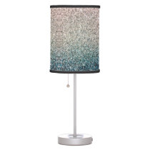 Girly Turquoise Blue Silver Ombre Glitter Sparkles Table Lamp
