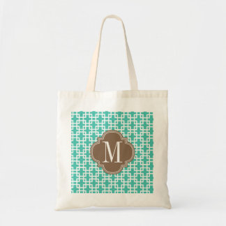 Girly Turquoise & brown Squares Pattern Custom Tote Bag