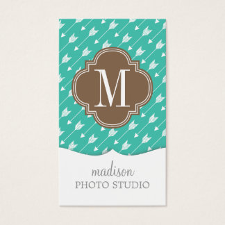 Girly Turquoise & brown Tribal Arrows Custom Business Card