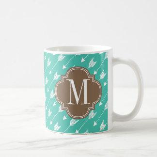 Girly Turquoise & brown Tribal Arrows Custom Coffee Mug