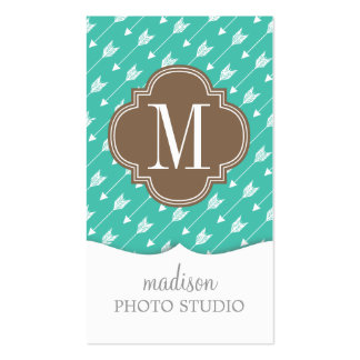 Girly Turquoise & brown Tribal Arrows Custom Double-Sided Standard Business Cards (Pack Of 100)