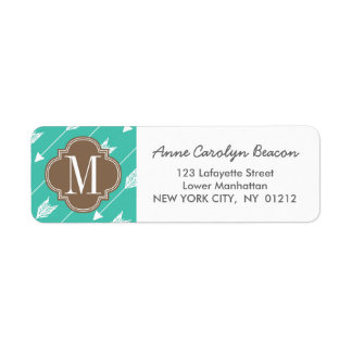 Girly Turquoise & brown Tribal Arrows Custom Label
