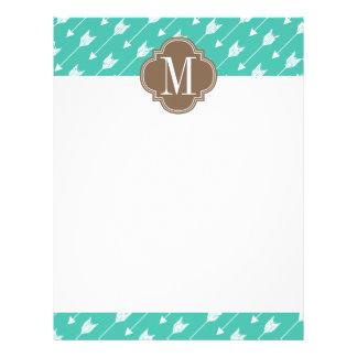 Girly Turquoise & brown Tribal Arrows Custom Letterhead Template