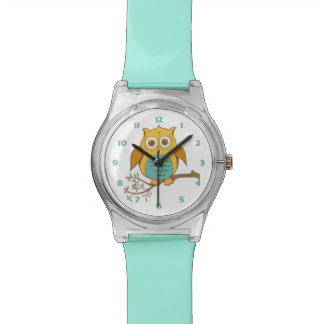 Girly Turquoise Gold Brown Owl on Branch Watch