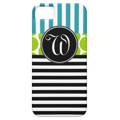 GIRLY TURQUOISE GREEN BLACK STRIPES iPHONE 5 CASE