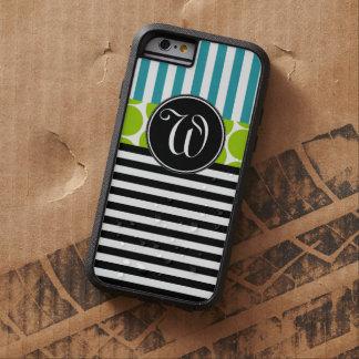 GIRLY TURQUOISE GREEN BLACK STRIPES MONOGRAM TOUGH XTREME iPhone 6 CASE