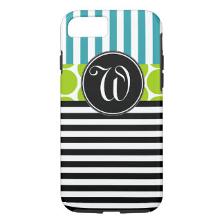 GIRLY TURQUOISE GREEN BLACK STRIPES MONOGRAM iPhone 7 CASE