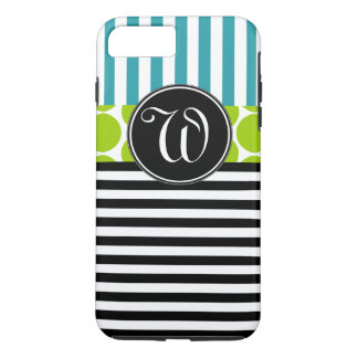 GIRLY TURQUOISE GREEN BLACK STRIPES MONOGRAM iPhone 7 PLUS CASE