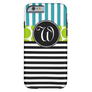 GIRLY TURQUOISE GREEN BLACK STRIPES MONOGRAM TOUGH iPhone 6 CASE