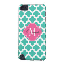 Girly Turquoise & Pink Quatrefoil Personalized iPod Touch 5G Cover
