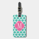 Girly Turquoise & Pink Quatrefoil Personalized Tag For Luggage