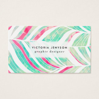 Girly Turquoise Pink Watercolor hand drawn pattern Business Card