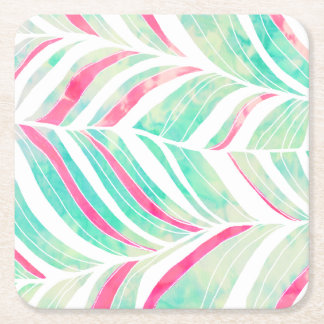 Girly Turquoise Pink Watercolor hand drawn pattern Square Paper Coaster