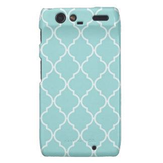 Girly Turquoise Quatrefoil Pattern Motorola Droid RAZR Case