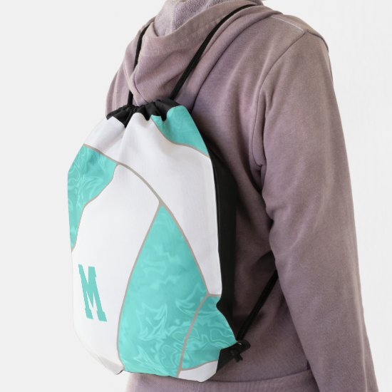 girly turquoise teal monogrammed volleyball drawstring bag