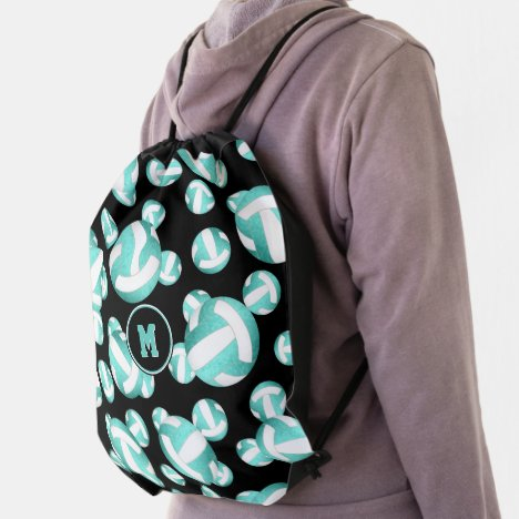 girly turquoise teal white volleyballs pattern drawstring bag