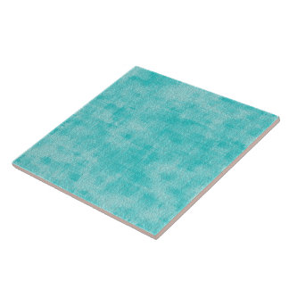 Girly Turquoise Watercolor Abstract Pattern Tile